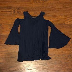 Small Navy Cold Shoulder Top